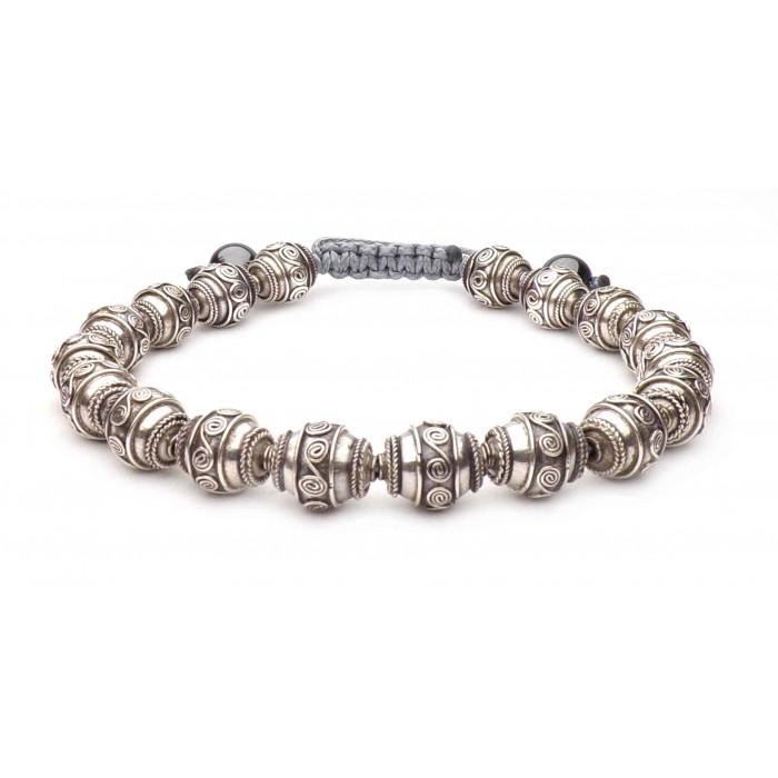 bracelet boule argent vrai sur fil réglable
