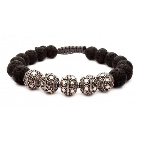 Le bracelet shamballa perles pierre de lave