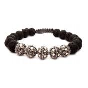 bracelet shamballa pierre de lave boule argent