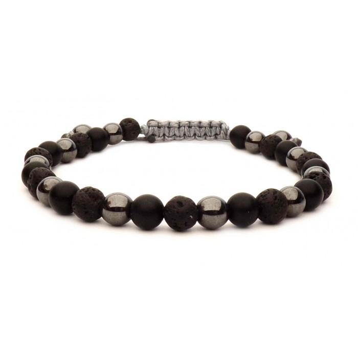 bracelet perles boule noir et métal sur fil