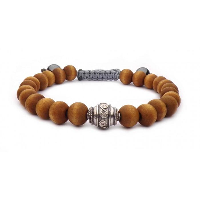 Bracelet shamballa perles bois wenge
