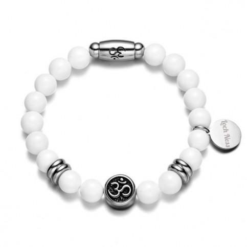 bracelet Om̐ perle agate blanche
