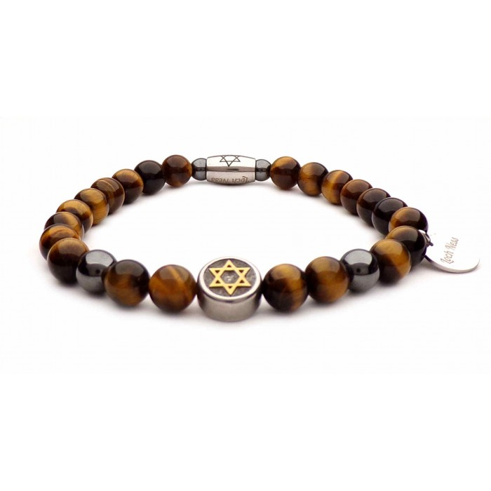 bracelet étoile de david perles