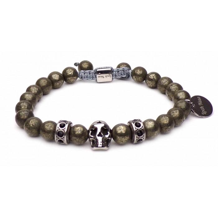 bracelet skull Pyrite perles