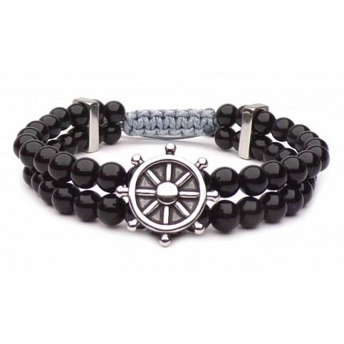 bracelet gouvernail acier perles shamballa