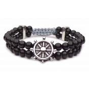 bracelet shamballa double gouvernail acier perles shamballa