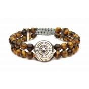bracelet boussole acier oeil de tigre