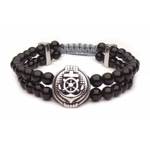 Bracelet ancre Obsidienne porte-bonheur