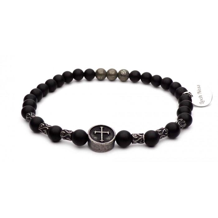 bracelet croix acier perles noir onyx