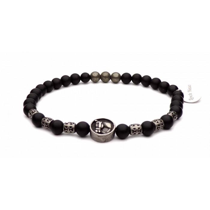 bracelet tete de cheval acier et perles noir