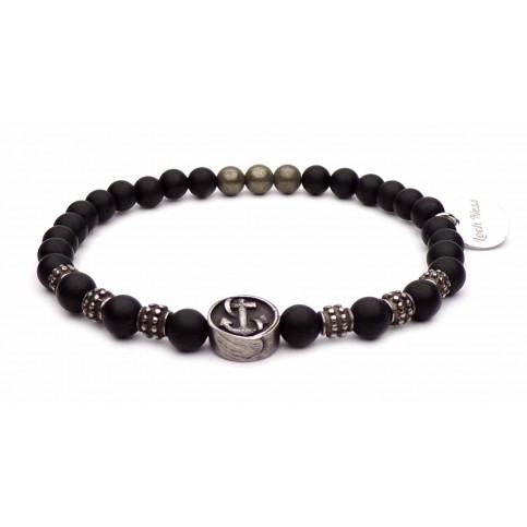 bracelet ancre acier et perles noir