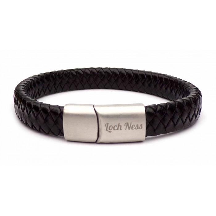 bracelet en cuir noir tréssé