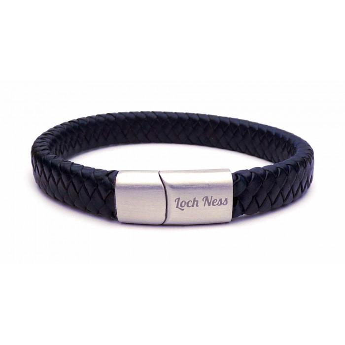 Bracelet en cuir bleu tressé