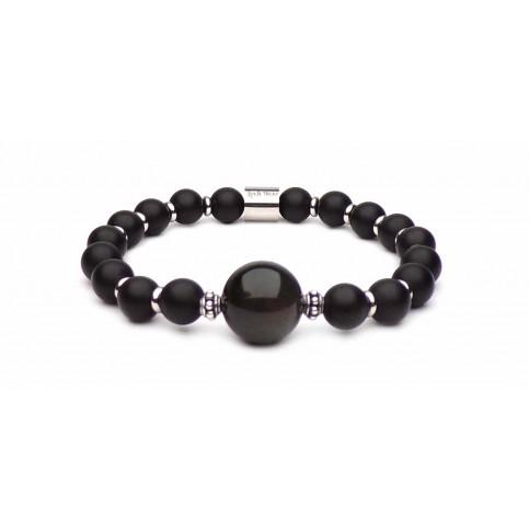 Bracelet J.H perle Obsidienne homme