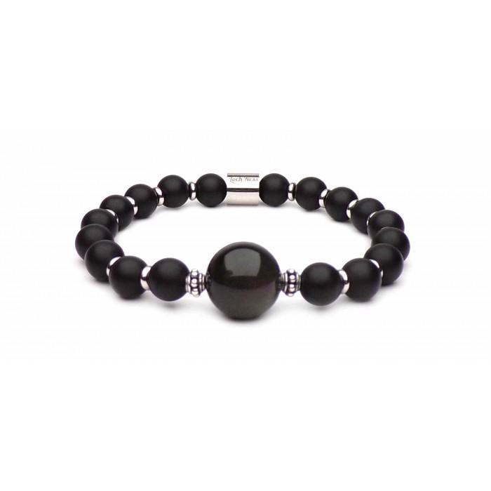 Bracelet Johnny hallyday perles noir
