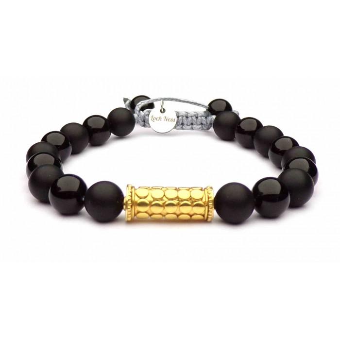 bracelet shamballa or jaune perles noir