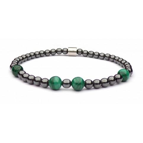 Bracelet femme perles Hématite et Malachite