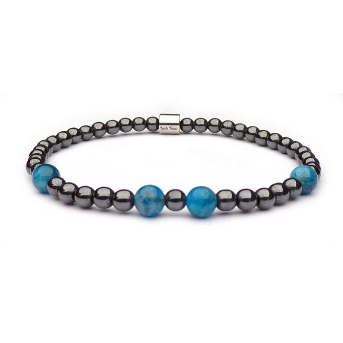 Bracelet femme boules Hématite grise et Apatite bleu