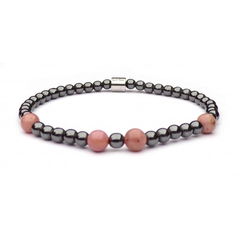Bracelet femme mini perle grise hematite et Rhodonite rose