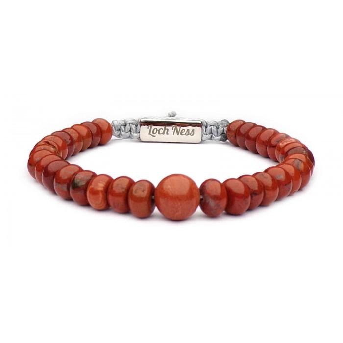Bracelet shamballa perles plates jaspe rouge