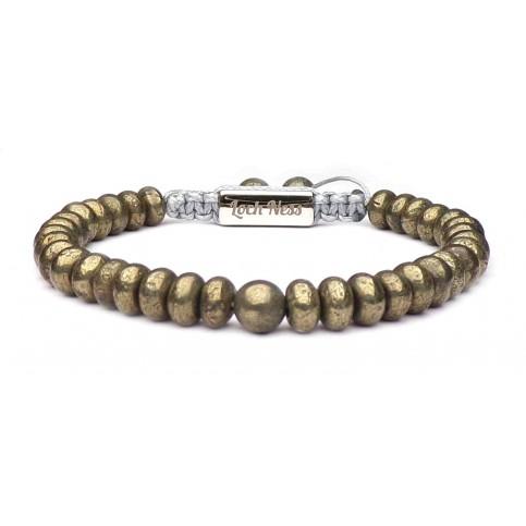 bracelet shamballa perles plates en Pyrite pour homme