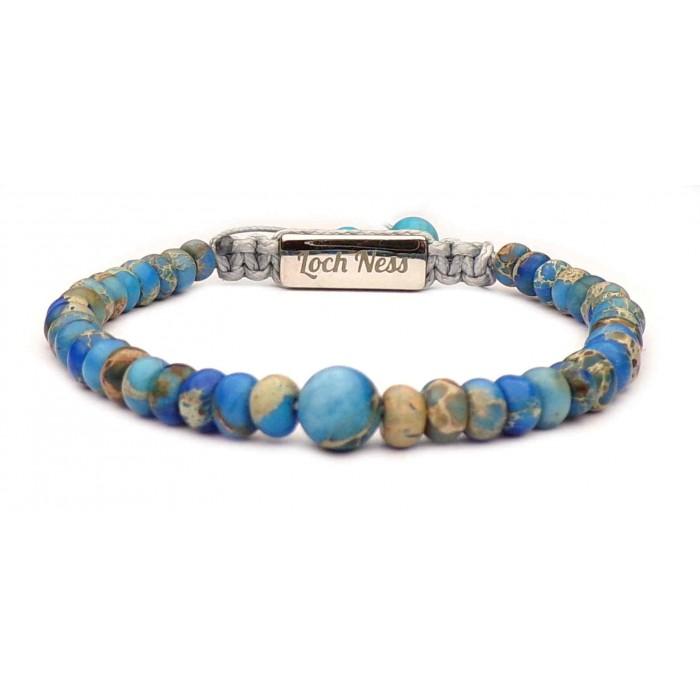 Bracelet shamballa billes plates pierre Régalite bleu