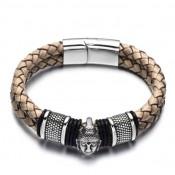 Le bracelet cuir avec bouddha acier
