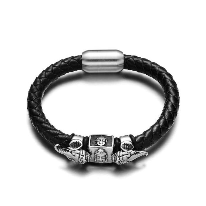 Le bracelet cuir et Bouddha elephant