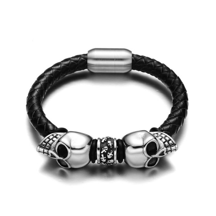 Le bracelet cuir et 2 tete de mort skull
