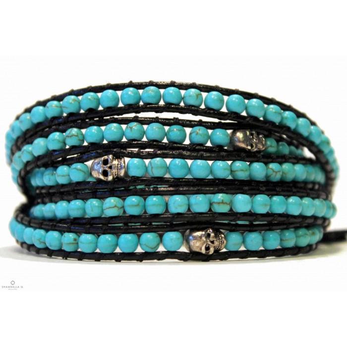 bracelet wrap bijoux a enrouler bleu turquoise