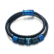 Le bracelet cuir noir double