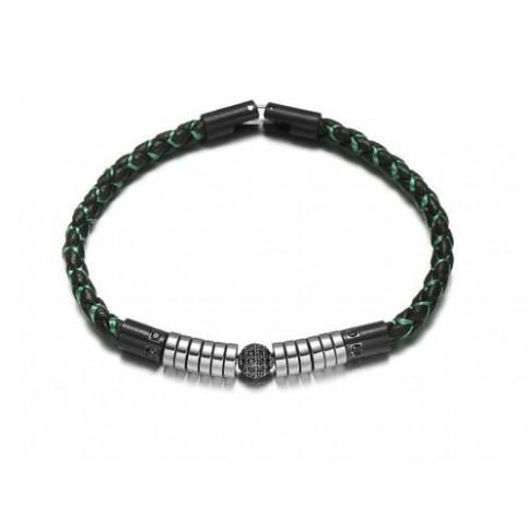 Le bracelet cuir noir et perle homme