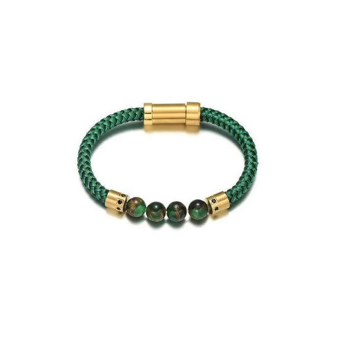 Le bracelet cuir vert et perle homme