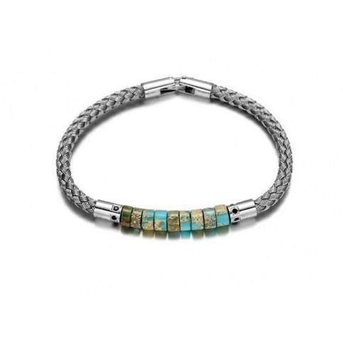 Le bracelet acier et perles homme