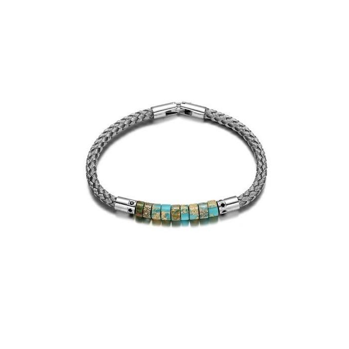 Le bracelet cuir gris et perle homme