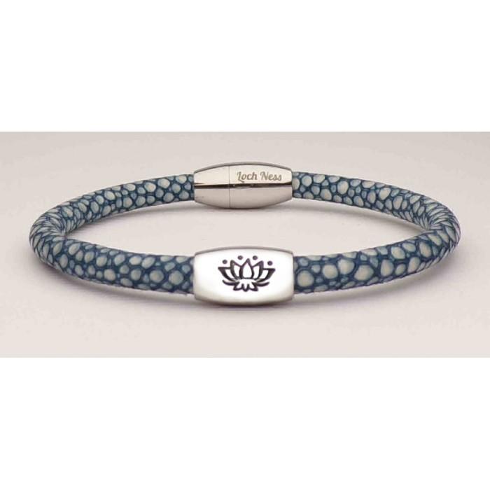Le bracelet arbre de vie en galuchat bleu