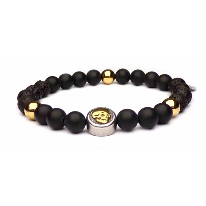 bracelet tete de mort perles noir