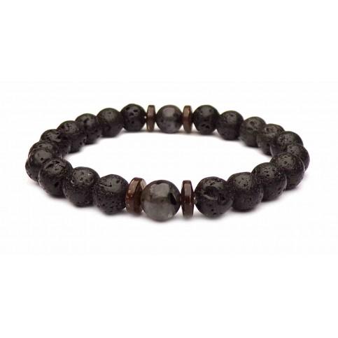 bracelet pierre perle de lave noir