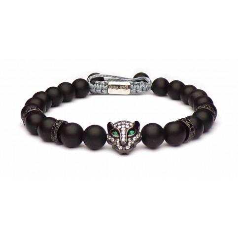 bracelet perles noir tete de chat