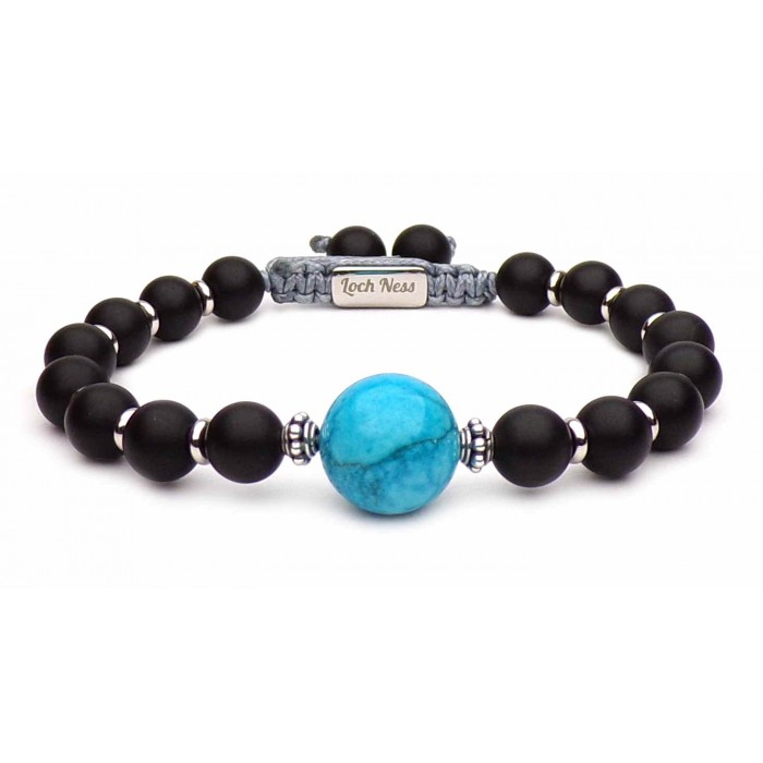 bracelet jamais seul Grande perle Bleu de Johnny Hallyday