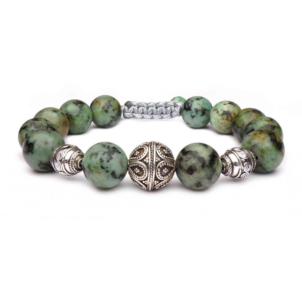 bracelet perles agate africaine vert