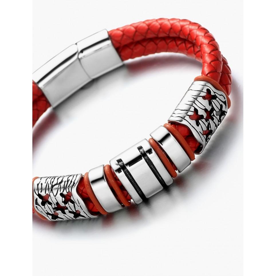 Le bracelet cuir rouge