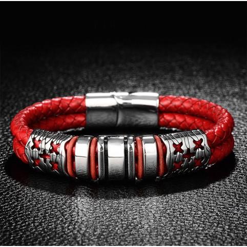 Le bracelet cuir rouge et argent