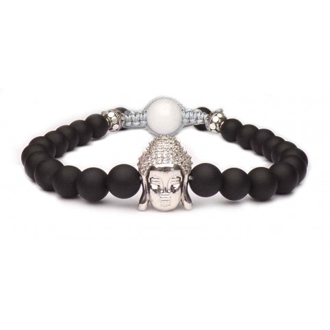 bracelet perles avec un Bouddha en argent véritable