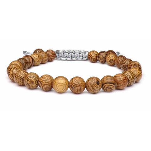 bracelet boules en bois marron