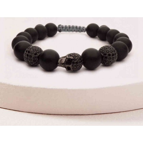 bracelet tibetain tete de mort noir