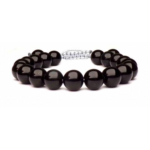 bracelet obsidienne noir sur fil