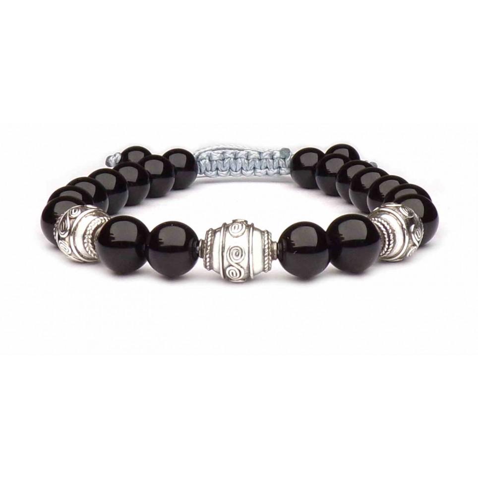 bracelet obsidienne et argent