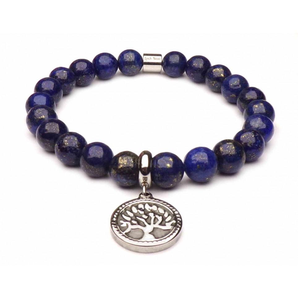 bracelet arbre de vie pierre lapis lazuli bleu