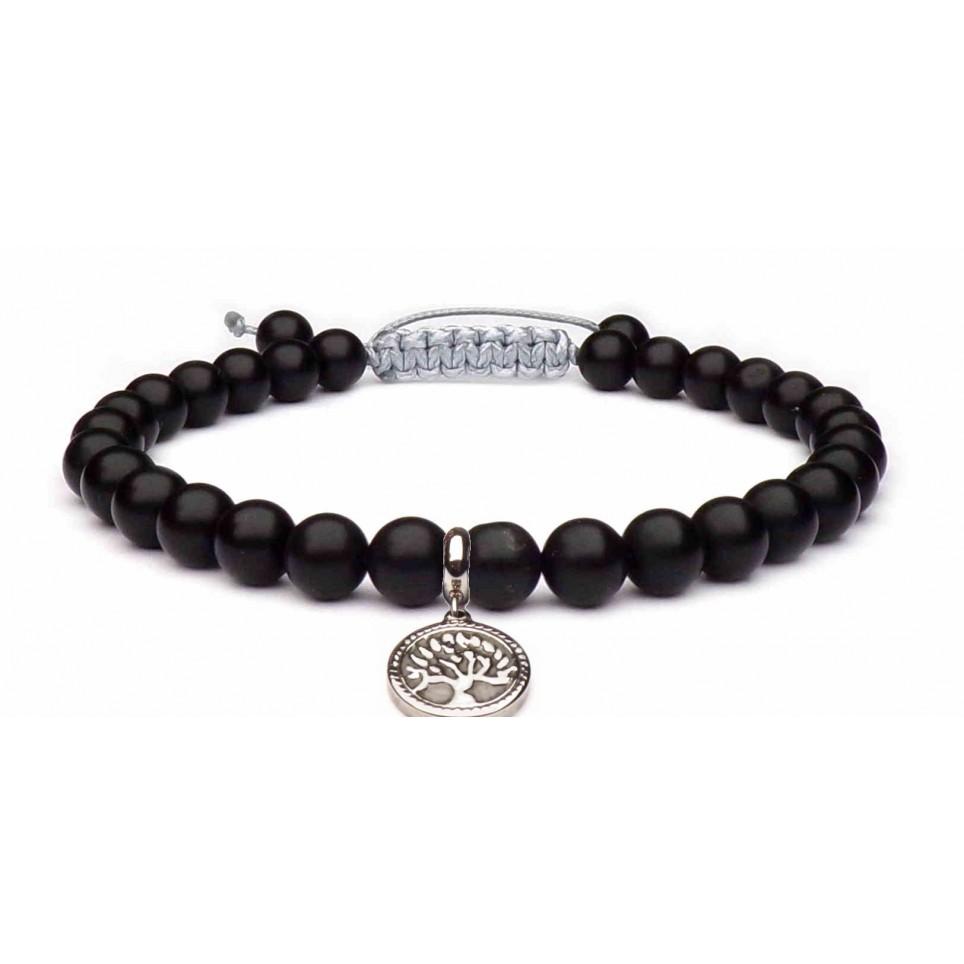 bracelet amulette arbre de vie et pierres noir